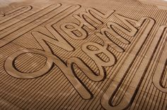 Cheese board.  Wood Typography Engraving by Ben Johnston, via Behance