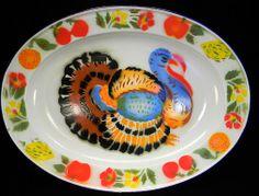 Vintage Enamel Platter with Colorful Turkey Platter