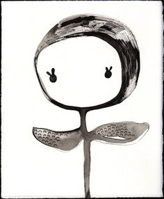 this is me right now... bright eyed and looking for handouts.... artist is Rebeca Raney. blossom flower, flower face