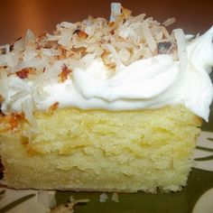 Cream Cheese Coconut Cake ~ I like the dense texture of this cake together with the creaminess of the cream cheese frosting, and the crunchiness of the toasted coconut.