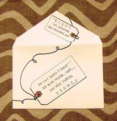 "Wedding Invitation Calligraphy ""All Aboard!"" style with hand-drawn tags.  (www.bigflourish.com)"