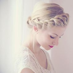 Front Crown Braid  Bun #brideside #wedding #hair #bun