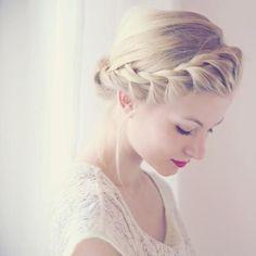 Front Crown Braid  Bun #hair #bun