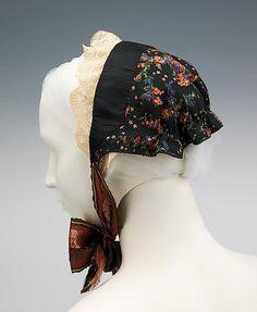 Danish Bonnet, 1825 -1850. This bonnet belonged to an unmarried woman from Lolland, Denmark.