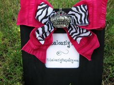 Black Picture Frame with Pink and Zebra Ribbon by FabulouslyFun,