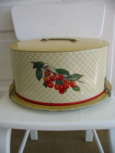 cute vintage cake carrier with cherries