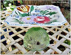 Italian Floral Cupcake Stand / Pedestal by GardenWhimsiesByMary