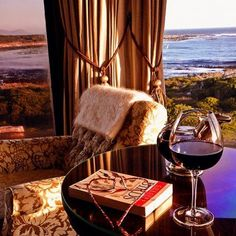 A glass of red wine and a good book.