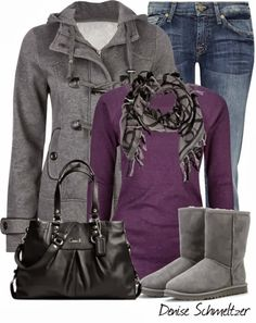 Stylish Winter Outfit...minus those awful Uggs! ugg boots, purs, fashion ideas, black boots, jean skirts, winter outfits, fall outfit, casual outfits, stylish winter