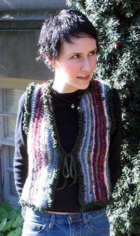 Hoodie vest. Uses up left over yarn.