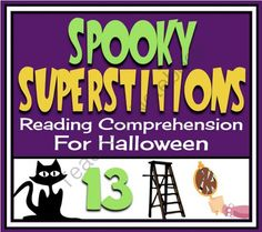 Halloween Reading Comprehension: Superstitions Readings, Questions, Task Cards from Presto Plans on TeachersNotebook.com -  (14 pages)  - Engage your students with these 4 non-fiction texts about common superstitions. This makes for a perfect Halloween lesson, but could be used at any time in the year!