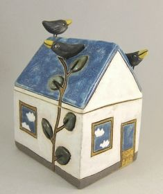 Cloudy Day...Ceramic House Box by elukka on Etsy, €70.00