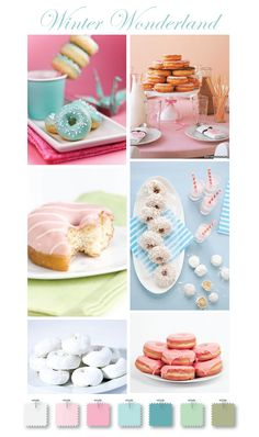 Winter Wonderland mini doughnut inspiration pastel doughnut, diner idea, mini doughnut, wedding colors, pastel colors