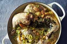 Classic Chicken with 40 Cloves of Garlic -- sub extra broth for the vermouth, and serve with a slice of sprouted-grain toast for soaking up the delicious sauce.
