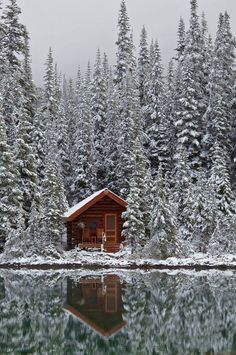 winter cabin, lodg, little cabin, snow, log cabins, national parks, lake, rustic cabins, british columbia