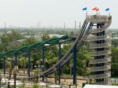 Top Crazy waterslides. Some with 120ft drops, one that goes upside down, and some with trap doors.