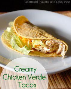 Creamy Chicken Verde Tacos in the Crock Pot Ingredients: +/- 2 lbs boneless skinless chicken breasts 10 oz of salsa verde 3/4 block of low fat cream cheese