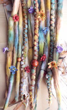 Dreads! Tie-Dye Multi Color Wool Dreads with flowers,  X-Cross Wrap & Beads Bohemian Hippie Dreadlocks Synthetic Boho Extensions purplefinchstore