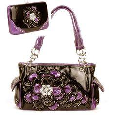 Handbags, Bling & More! Black and Purple Rhinestone Flower Pocket Purse W Matching Wallet  On Sale: $56.99 FREE SHIPPING