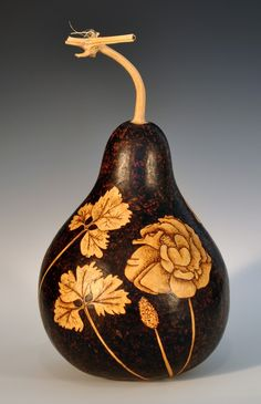 Pyrographed and Carved Decorative Gourd