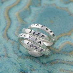 Love Laugh Embrace Life Rings Quad Mother's by 7ElementsStudio, $120.00