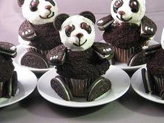 Panda cupcakes for birthday party bear, birthday, baby pandas, panda cupcak, food, kid, parti, dessert, oreo cupcakes