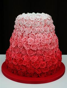 #mandies_wedding Ombre Cakes (prob not this color but the roses are beautiful)