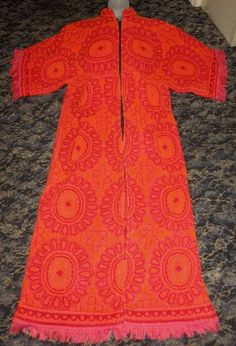 Terry Cloth Towel Caftan Beach Dress Red Orange 1970s Fringed Zip S M