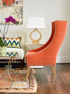 TG interiors: Emily Followill Photography & Styling interior, table lamps, living rooms, mixing patterns, vignett, color, oranges, curv, accent chairs