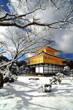 Kinkakuji in white, Kyoto, Japan