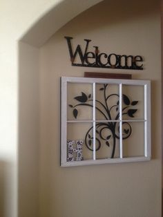 DIY antique window. Fun and easy to make using precut vinyl wall decals.