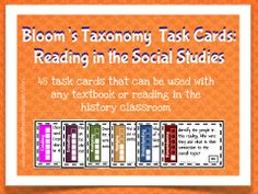 Looking for a way to challenge your students or to really model close reading?  This task card set is exactly what you need.  This set was created to be used with history articles or textbooks.  After a student has done a first read of their text, they can delve in deeper with tasks and questions for each level of Bloom's Taxonomy.