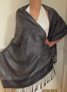 Artsy Black & Silver Shawl Eleganza is a beautiful evening shawl for women with elegance and a touch of class on sale.