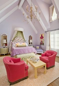 Purple Girls Bedroom Ideas with Hot Pink Chairs
