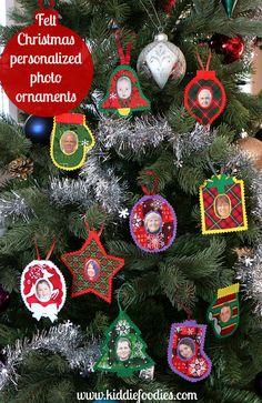 Felt personalized photo Christmas ornaments tutorial