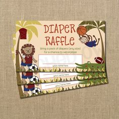 This is our nursery theme!! Team Safari Baby Shower Diaper Raffle Ticket. $10.00, via Etsy.