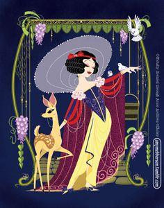 Snow White walt disney, white style, ami mebbersongicle, pocket princesses, comics, art deco, art nouveau, canvases, snow white