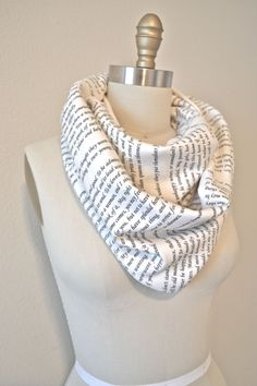 Have a page from your favorite book printed on a scarf, via Etsy, 42.00