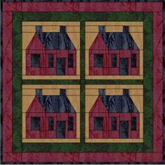 """Salt Shaker House - 6"""" paper piecing quilt block from Forest Quilting"""