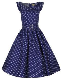 Lindy Bop 'Hetty' Polka Dot Bow Shawl Collar Vintage 1950's Rockabilly Swing Party Dress - Buy New: $46.99