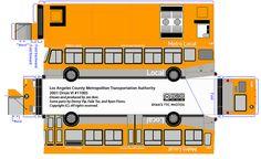 Los Angeles County Metropolitak Transportation Authority paper model bus - OrionVI - by R. Flores. DIY paper craft