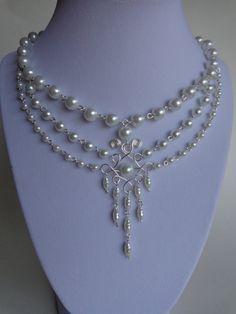 Pearls Necklace,   by IrisJewelryCreations jewelri fashion, statement necklaces, beaded jewelry necklaces, jewelri idea, jewellery necklaces, pearl necklaces, wedding necklaces, fashion jewelri, necklac pearl