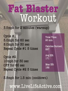 Give this treadmill workout a try next time you're at the gym.  It's an intense 20 min workout that will be sure to blast your fat and keep your calorie burn for hours after your workout due to the HIIT type of training.  www.livelifeactive.com