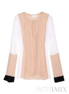 A.L.C. Dorset Colorblock Long Sleeve Blouse