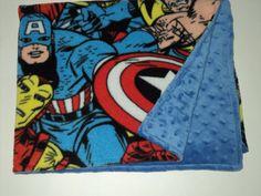 "SUPERHERO BABY BLANKET - Marvel Comics Blanket - Toddler Blanket - 28"" X 34"" - Minky And Fleece - Baby Boy Blanket - Baby Shower"