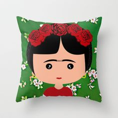 Frida Kahlo Throw Pillow by Creo tu mundo - $20.00
