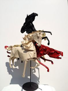 The Four Horses of the Apocalypse: Conquest, War, Famine & Death by Joseph Wu Origami, via Flickr
