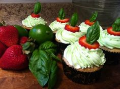 Strawberry Basil Lime Cupcakes
