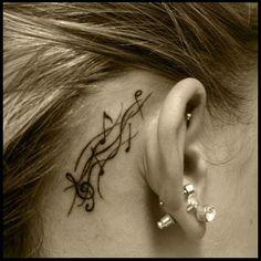 Music Note Tattoo behind ear love it