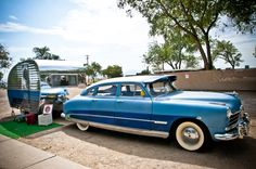 "'56 Vakashunette vintage trailer named ""Evelyn"" with a '50 Hudson Commodore to pull her around"
